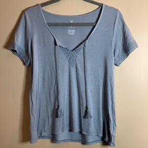 American Eagle Soft & Sexy Grey/Blue Top XS